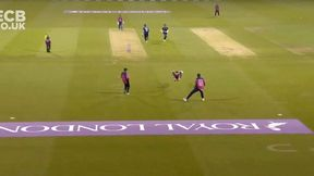 Holland takes a sensational caught and bowled!
