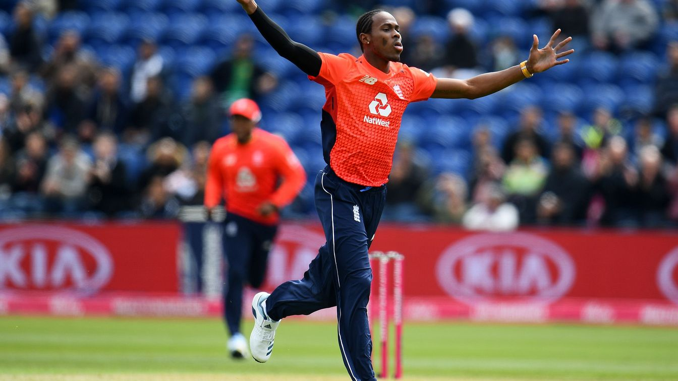 Jofra Archer celebrates his first England wicket on home soil