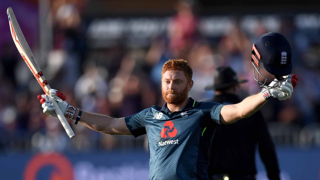 Jonny Bairstow celebrates his hundred in Bristol