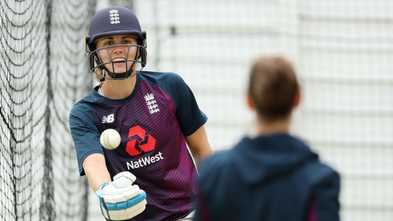Nat Sciver in the nets