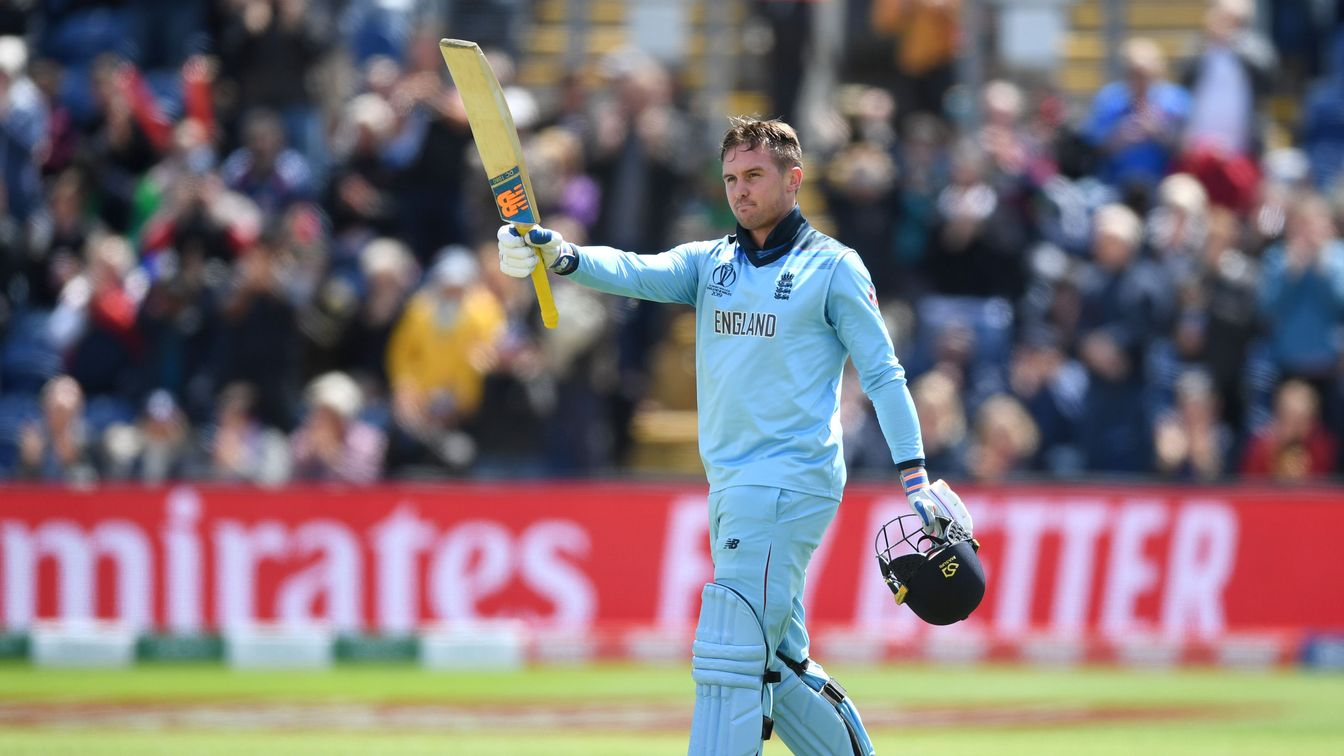 Jason Roy celebrates his hundred against Bangladesh in Cardiff