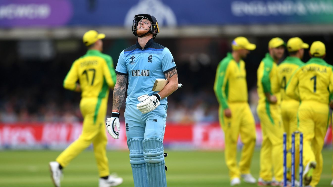 Ben Stokes reacts to his dismissal against Australia at Lord's
