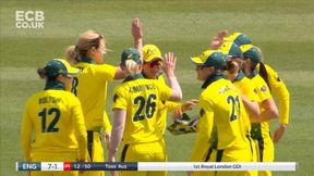 Amy Jones goes for a duck, caught by wicketkeeper Alyssa Healy off Ellyse Perry