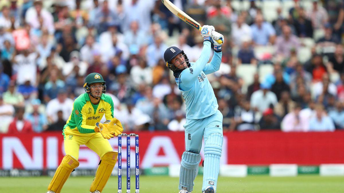 Jason Roy hits a six during his 85 against Australia at Edgbaston