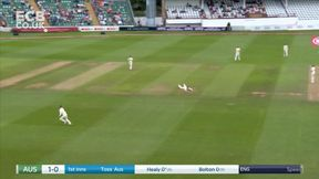 Healy hits first boundary of the match.