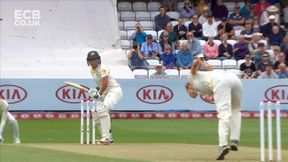 Brunt nearly cuts Healy in half with the first ball of the match.