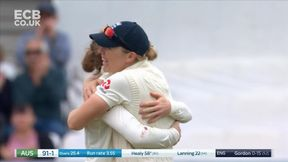 Alyssa Healy is bowled behind the legs by Kirstie Gordon.