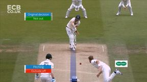Broad traps Head in front after a review
