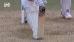 Leach strikes for the second time in two balls as Wade is caught at short leg