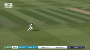 Steven Smith whips a ball from outside off stump through the leg side