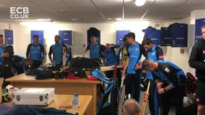 Dressing room celebrations with the Worcestershire Rapids