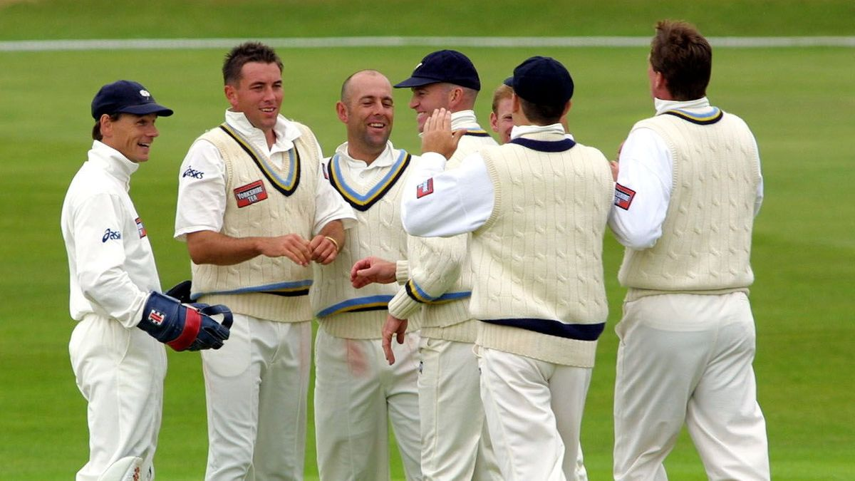 Chris Silverwood celebrates a wicket for Yorkshire in 2001