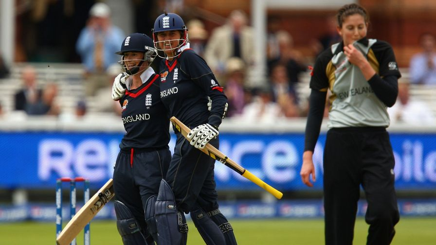 Gunn at the crease as England win the ICC Women's World T20 Cup. A theme develops here...