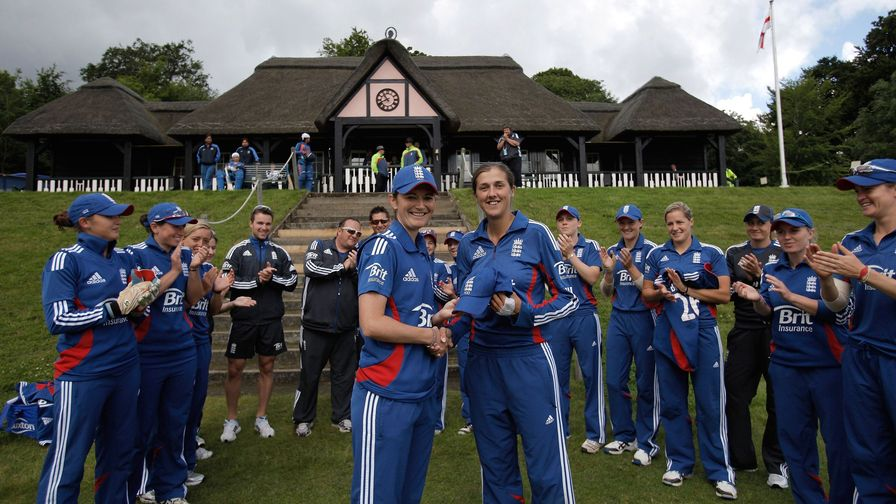 A proud moment. Gunn makes her 100th ODI appearance