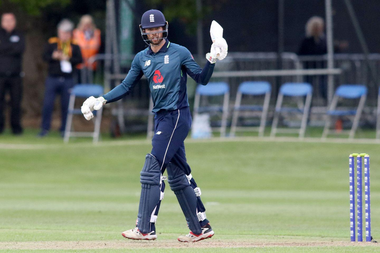 Ben Foakes celebrates scoring 50 for England.