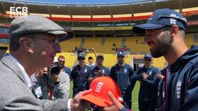 Saqib Mahmood receives his England cap