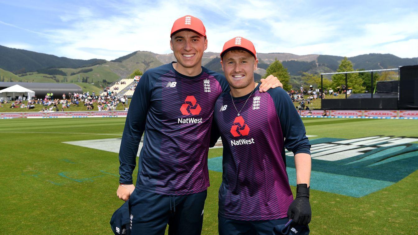 Tom Banton and Matt Parkinson after receiving their first caps