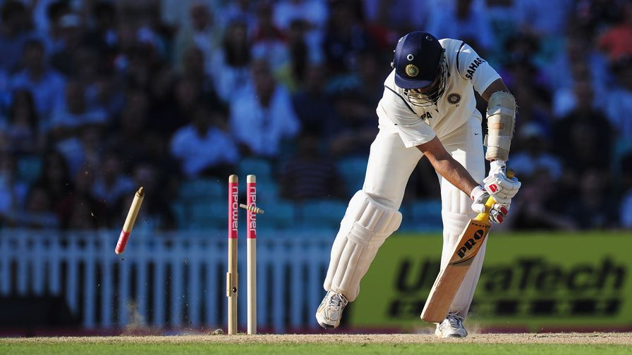 James Anderson makes a mess of VVS Laxman's stumps with a stunning delivery.