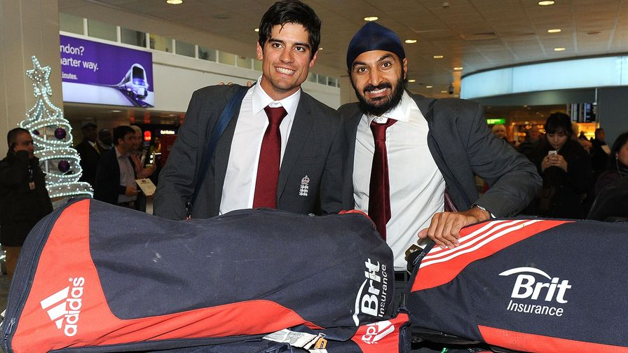 Sir Alastair Cook and Monty Panesar are all smiles after returning from a winning tour of India.