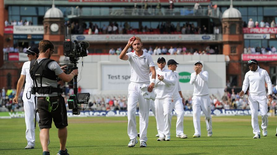Stuart Broad celebrates his 6-25 against India at Old Trafford.