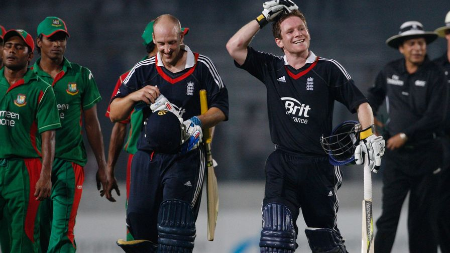 The first of many. Eoin Morgan scores his first century for England against Bangladesh in Dhaka.