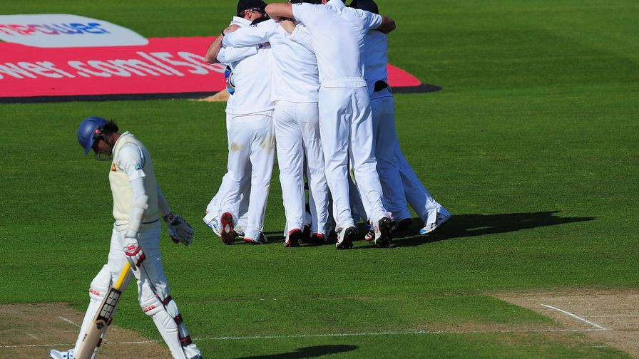 An incredible win! England dismiss Sri Lanka for 82 on the final day in Cardiff.