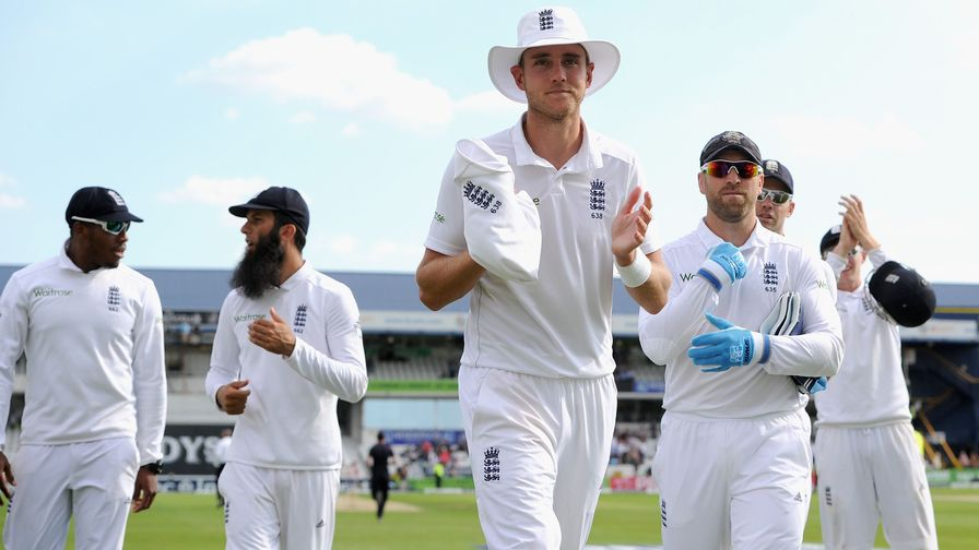 Stuart Broad leads England off the field after taking his second Test match hat-trick, against Sri Lanka at Headingley.