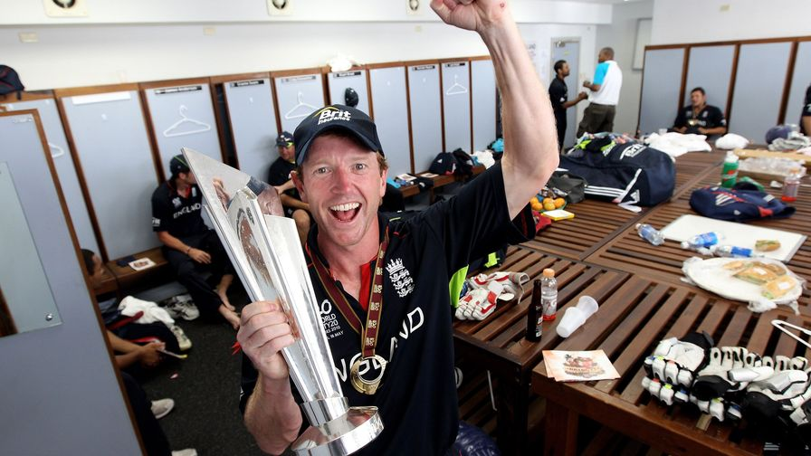 Our first ICC trophy! Paul Collingwood celebrates after leading the team to victory at the ICC World T20 World Cup