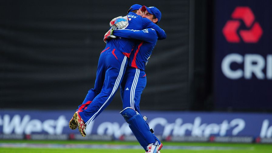 Eoin Morgan and Craig Kieswetter embrace as England secure a 4-0 ODI series win over Australia.