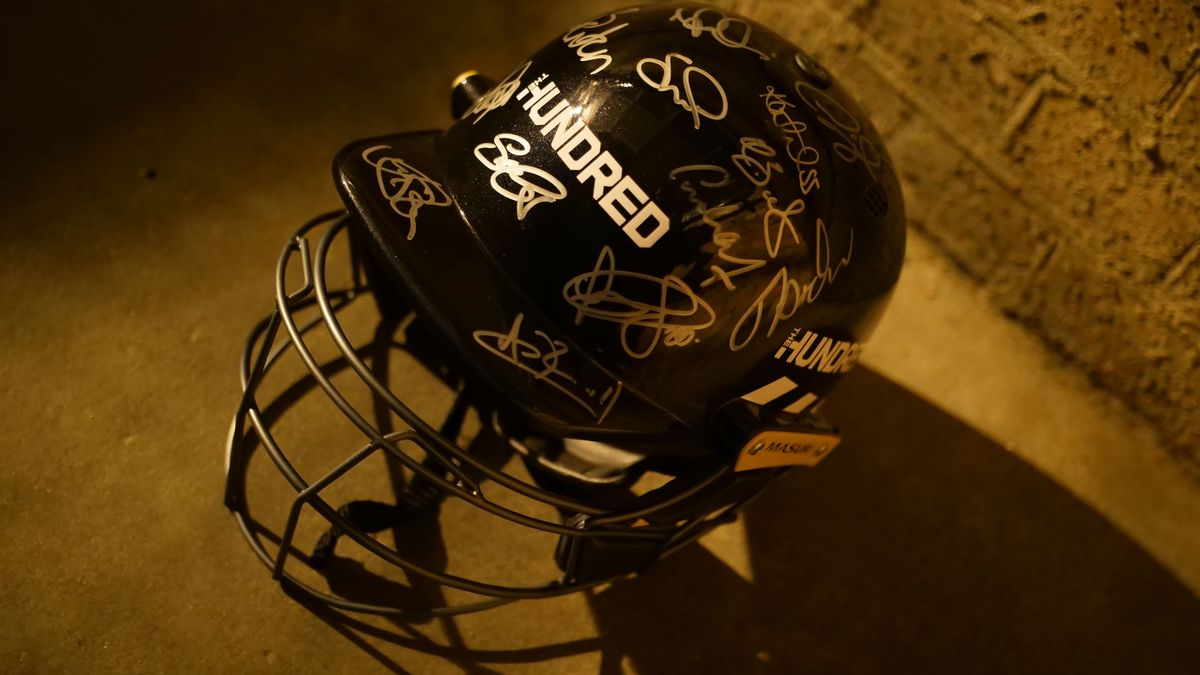 The helmet was signed by stars of The Hundred who attended The Hundred Draft