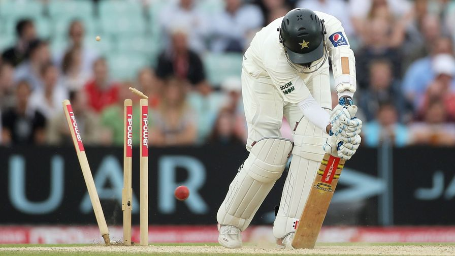 Mohammad Yousuf is cleaned up by a James Anderson yorker. England win the Test series 3-1.