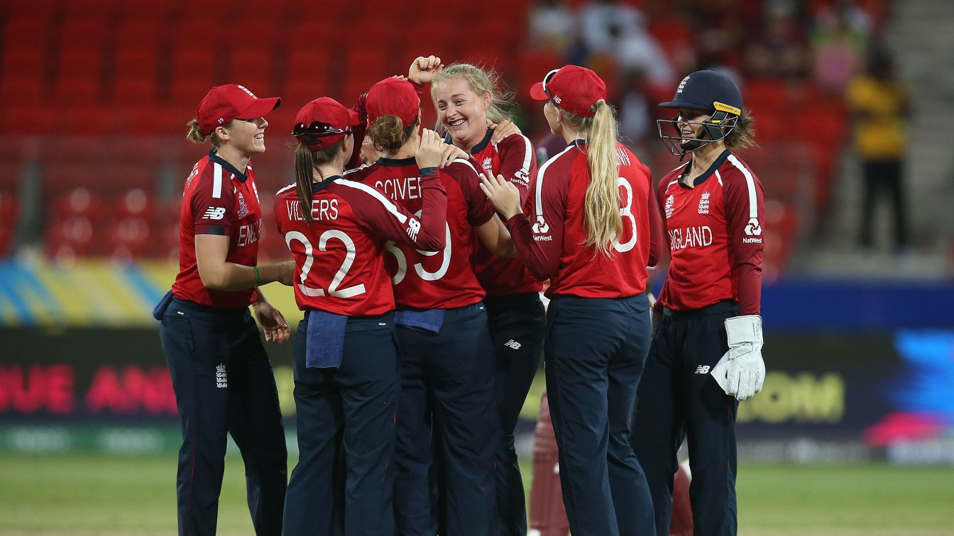 England celebrate against West Indies