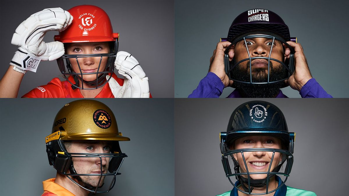 Stars of The Hundred show off the new Masuri helmets.