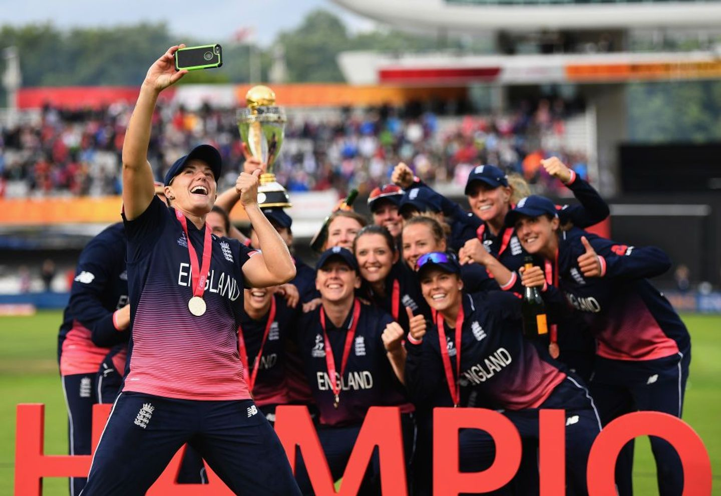 England Women celebrate their 2017 ICC World Cup win over India at a packed Lord's