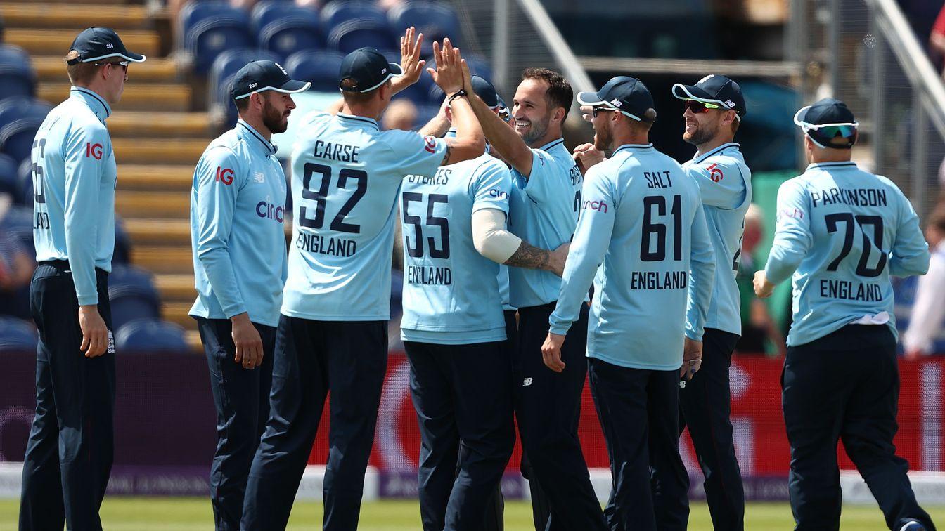 England's new-look ODI team celebrate