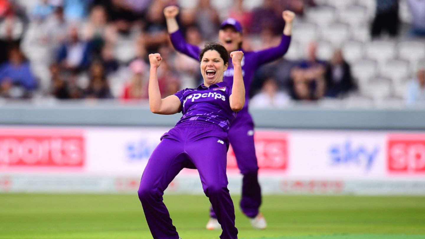 Alice Davidson-Richards celebrates taking a wicket for the Superchargers