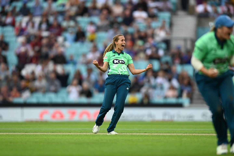 Fast bowler Tash Farrant enjoys another victim